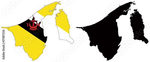 vector  map and flag of brunei