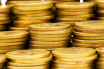 Stack of coins - shallow depth of field