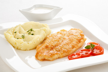 Fish dish - fried cod fillet with mashed potatoes