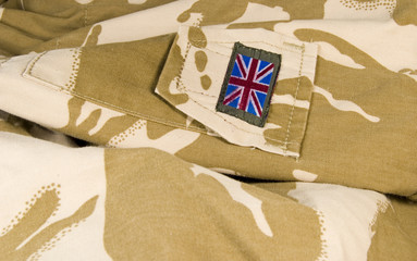 british union jack / flag on camouflage background