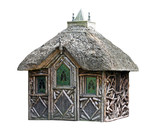 A Wooden Garden Play Shelter with a Thatched Roof. poster