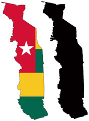 vector  map and flag of togo