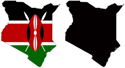 vector  map and flag of kenya