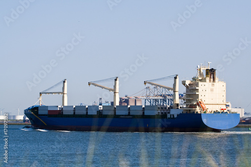 Cargo ship entering port