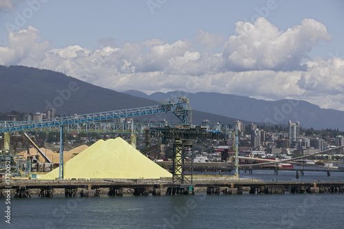Crane and materials for transportation in Vancouver Harbour, British Columbia