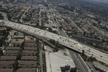 Aerial view of Highway in Los Angeles