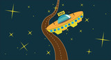Cosmic taxi with stars and road poster