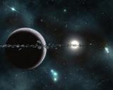 Digital created starfield with cosmic Nebula poster