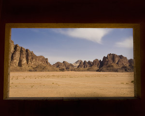 wadi rum desert seen through window