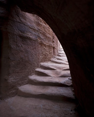 ancient stone steps in petra, jordan