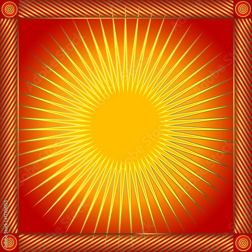 Abstract red frame with sun (vector)