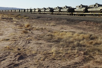 Tanks on freight train, USA