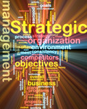 Strategic management wordcloud glowing poster