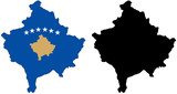 vector  map and flag of kosovo poster