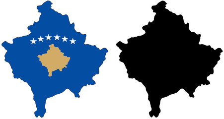 vector  map and flag of kosovo
