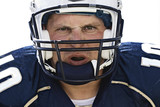 Aggressive Football Player Face poster