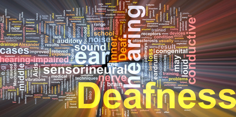 Deafness word cloud glowing