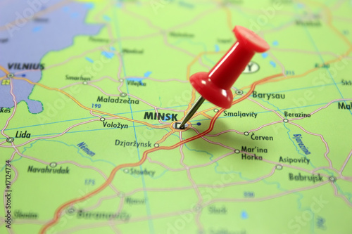 Destination: Minsk. Map with a red pin pointing at Minsk