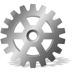 Gear with shadow. Vector design element.