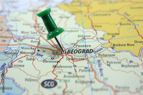 Destination: Belgrade. Map with green pin pointing at Belgrade