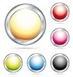 Colorful metal and glass buttons. Vector collection.