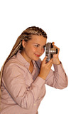 Girl with old photo camera