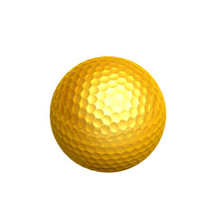 golden golf ball-isolated on white