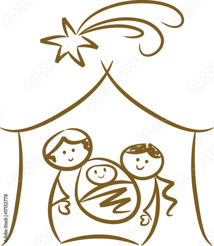 Weihnachtliche Krippenszene mit Jesuskind und Stern