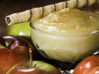 apple sauce with rolled wafer