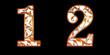 蔦の模様の数字 1 2
