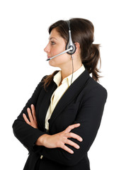 Female call center operator
