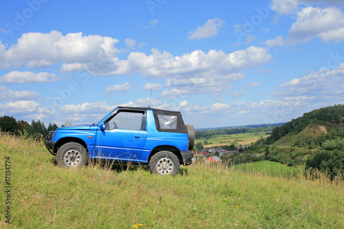 Off-road. 4x4 jeep at the top of a hill