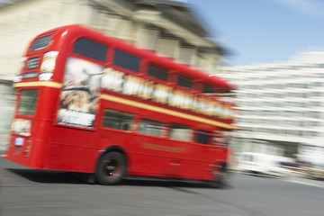 Double Decker Bus Driving Through The Streets Of London