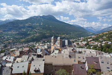 Roofs of the fortress of Briancon (France), alps in background