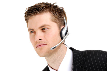 Customer service operator looking away