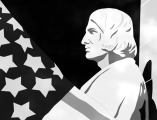 Columbus Day - 3D Black and White Illustration