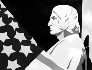 Columbus Day - 3D Black and White Illustration