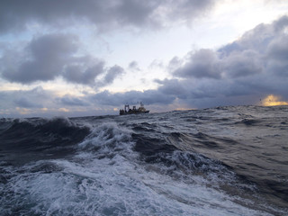 Trade vessel at ocean