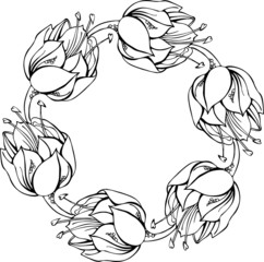 Black and white wreath of flowers