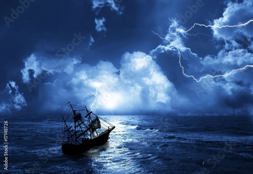 sailing-ship in time of storm