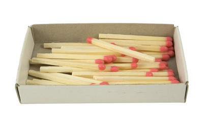 matches laying in box isolated on white background