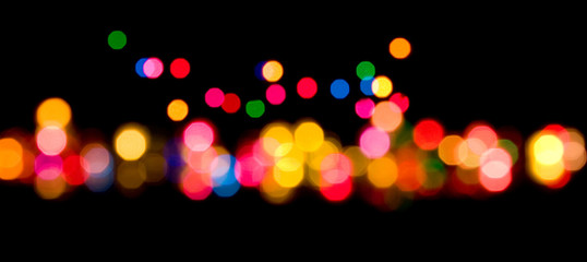 Colorful lights on black background