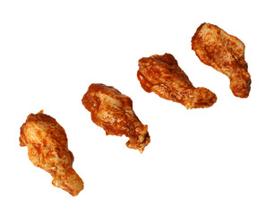 four marinated chicken wings