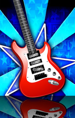 Star Birst Red Rock Guitar Illustration