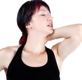 expressive portrait of woman who has neck pain