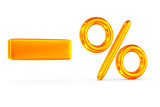 decrease percent on white background. Isolated 3D image poster