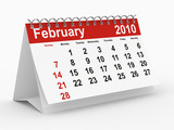 2010 year calendar. February. Isolated 3D image poster