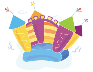 Vector bouncy castle. Vector Illustration.