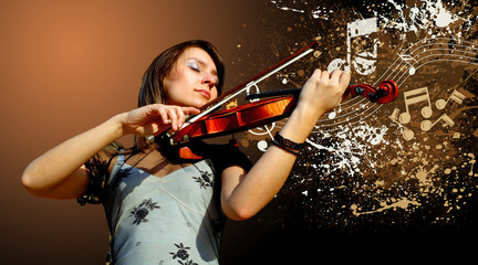 Retro musical  grunge violin background