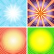 Set abstract  backgrounds with rays (vector)